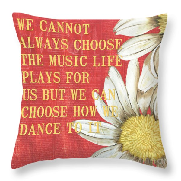 Dictionary Floral 1 Throw Pillow by Debbie DeWitt