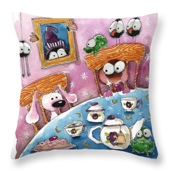 Did You Invite The Witch To Tea Throw Pillow by Lucia Stewart