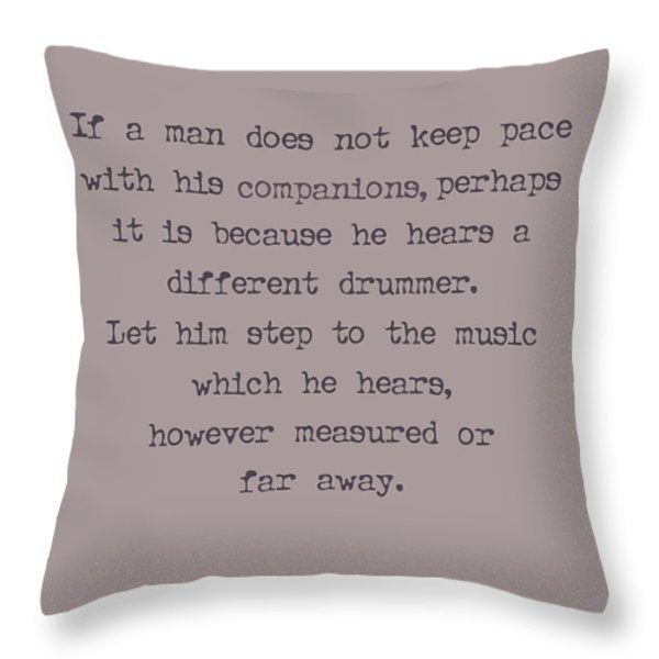 Different Drummer Throw Pillow by Nomad Art And  Design