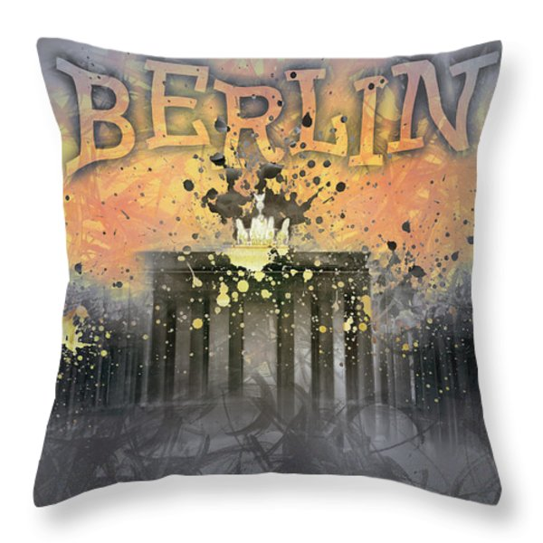Digital-art Brandenburg Gate I Throw Pillow by Melanie Viola