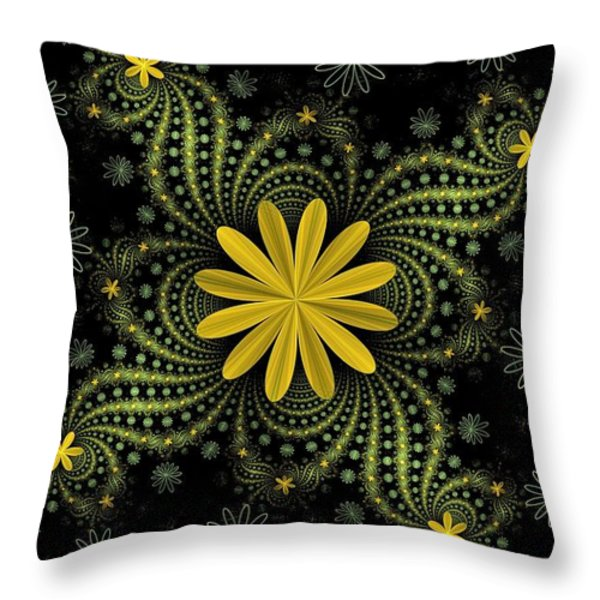 Digital Flowers Throw Pillow by Sandy Keeton