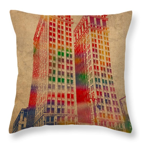Dime Building Iconic Buildings of Detroit Watercolor on Worn Canvas Series Number 1 Throw Pillow by Design Turnpike