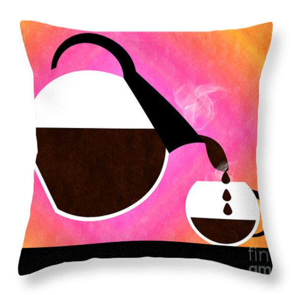 Diner Coffee Pot And Cup Sorbet Pouring Throw Pillow by Andee Design