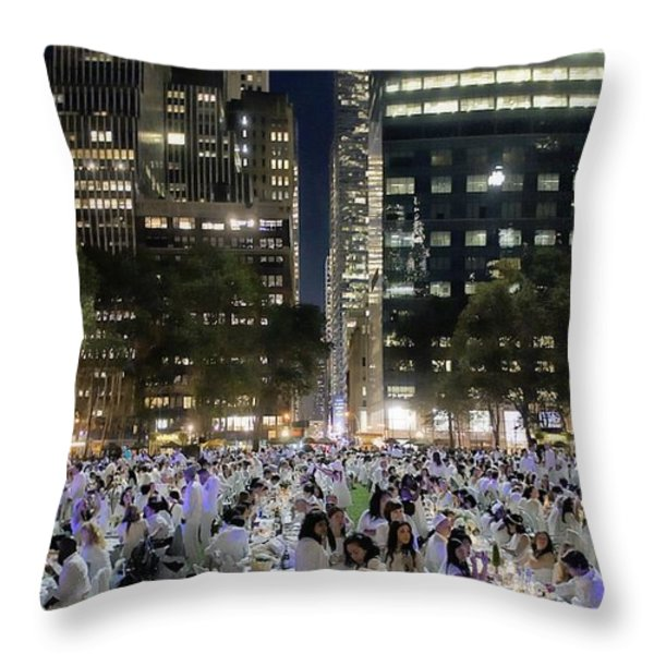 Diner en Blanc New York 2013 Throw Pillow by Lilliana Mendez