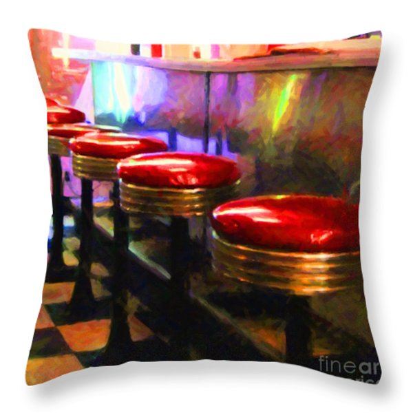 Diner - v2 - square Throw Pillow by Wingsdomain Art and Photography