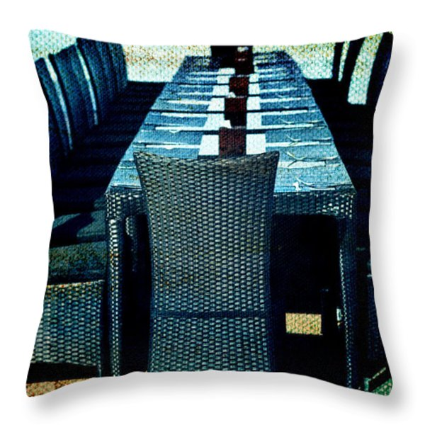 Dinner by the Sea Throw Pillow by Nomad Art And  Design