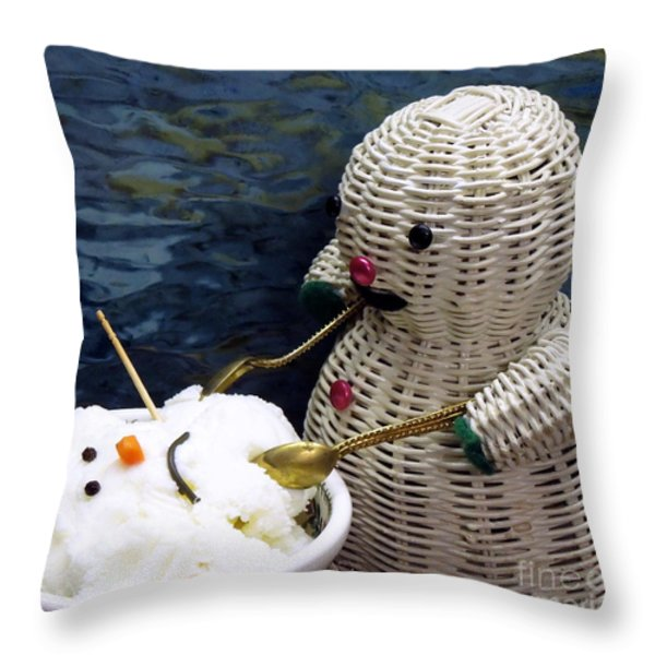 Dinnertime . Et Tu Snowman? Throw Pillow by Renee Trenholm