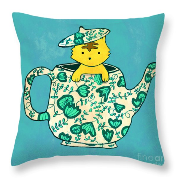 Dinnerware Sets Kitten In A Teapot Throw Pillow by Budi Satria Kwan
