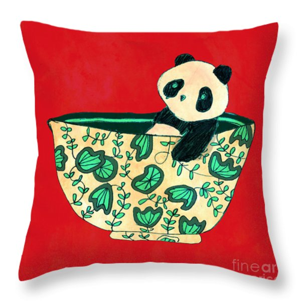 Dinnerware sets Panda in a bowl Throw Pillow by Budi Kwan