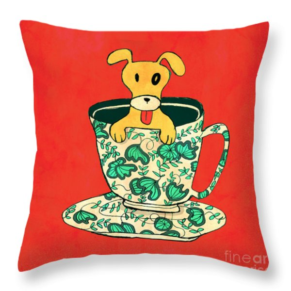 Dinnerware sets puppy in a teacup Throw Pillow by Budi Kwan