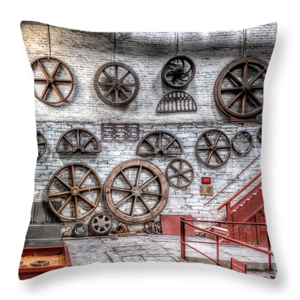 Dinorwig Quarry Workshop Throw Pillow by Adrian Evans