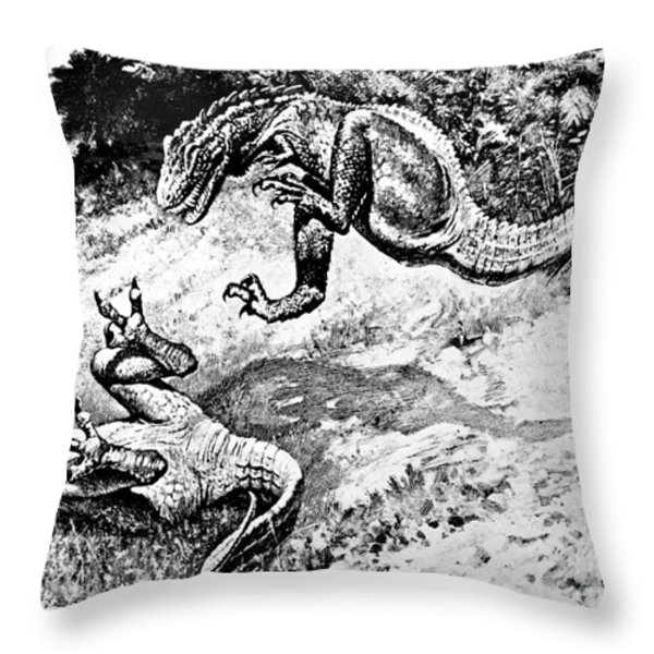 Dinosaurs Fighting Throw Pillow by Science Source