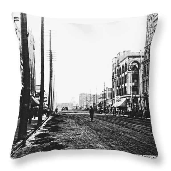 DOWNTOWN DIRT SPOKANE c. 1895 Throw Pillow by Daniel Hagerman