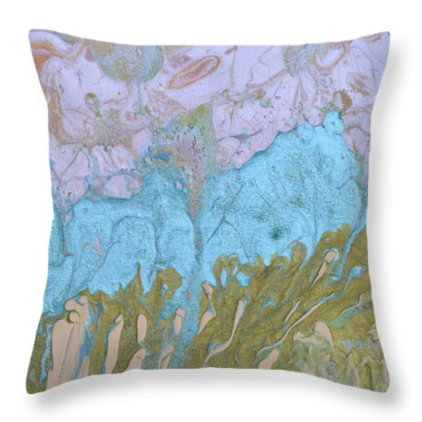 Disappearing In The Mist Throw Pillow by Donna Blackhall