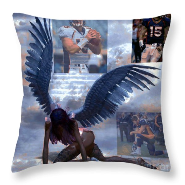 Discarded Angel Throw Pillow by M and L Creations