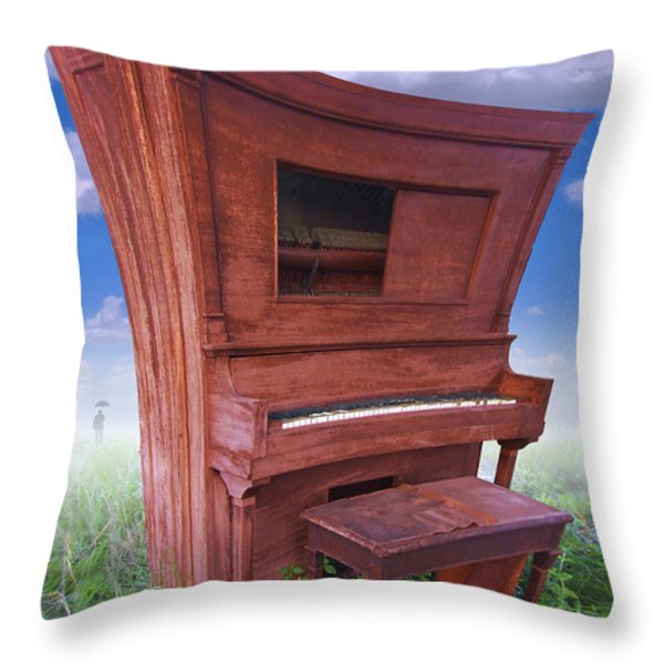 Distorted Upright Piano Throw Pillow by Mike McGlothlen