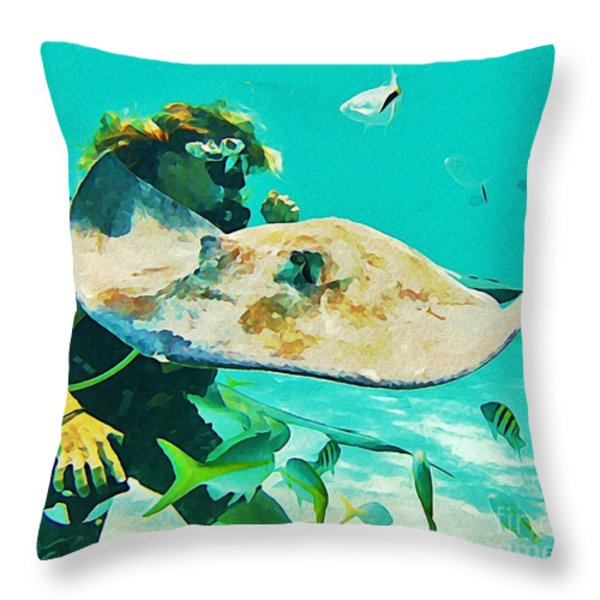 Diver And Stingray Throw Pillow by John Malone