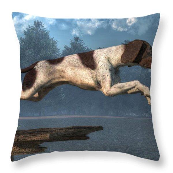 Diving Dog Throw Pillow by Daniel Eskridge