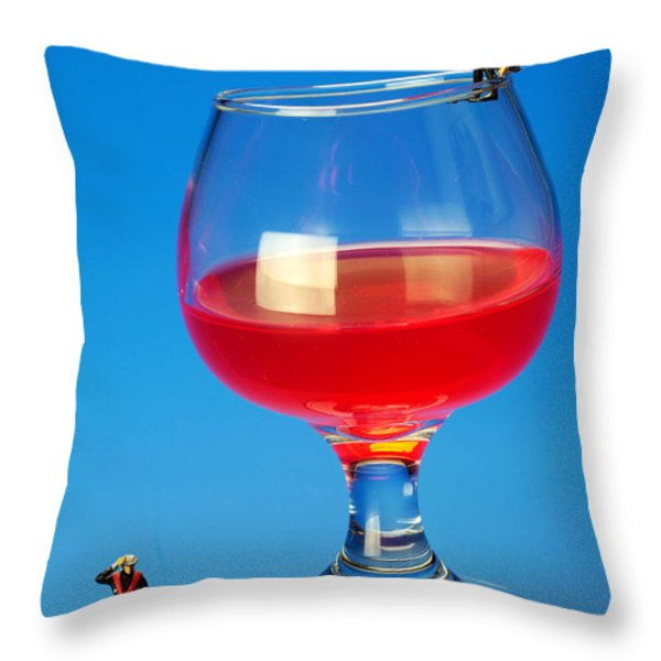 Diving In Red Wine Little People Big Worlds Throw Pillow by Paul Ge