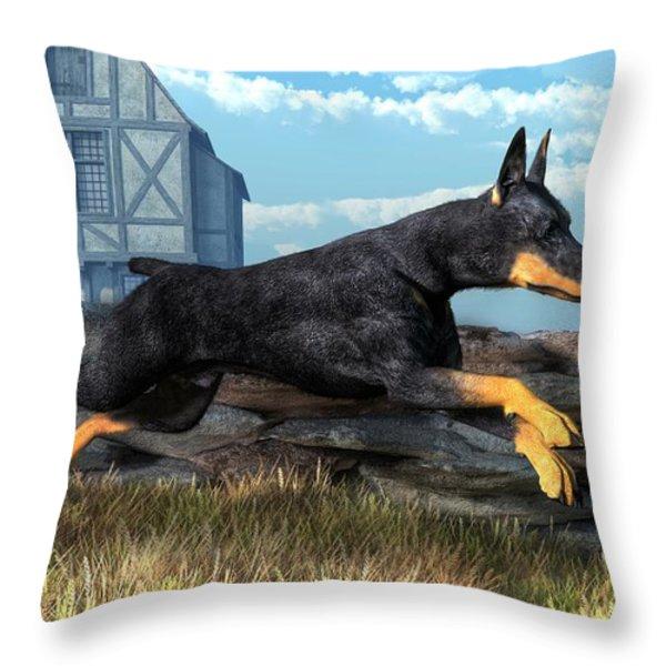 Doberman Throw Pillow by Daniel Eskridge