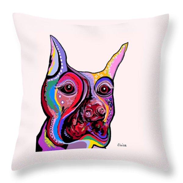 Doberman Throw Pillow by Eloise Schneider