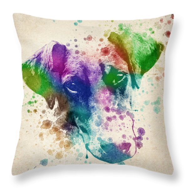 Doberman Splash Throw Pillow by Aged Pixel