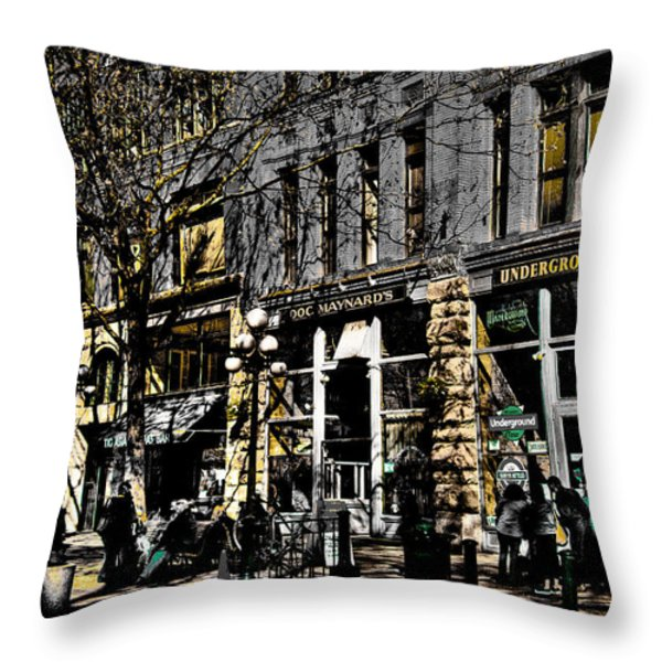 Doc Maynards and the Underground Tour - Seattle Washington Throw Pillow by David Patterson
