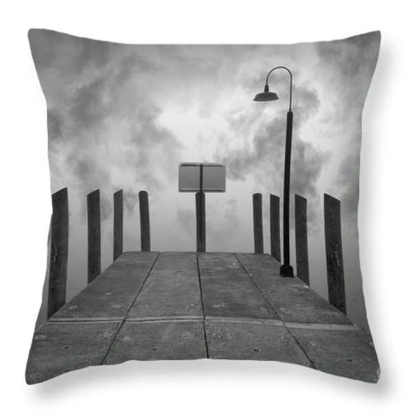 Dock And Clouds Throw Pillow by David Gordon
