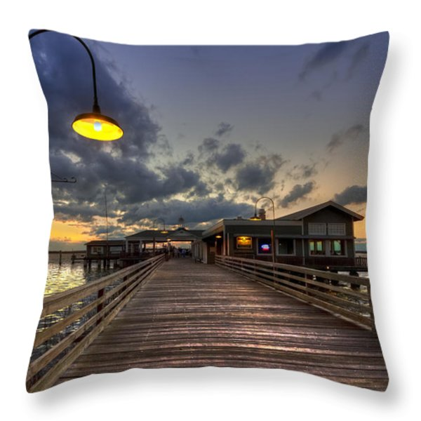 Dock lights at Jekyll Island Throw Pillow by Debra and Dave Vanderlaan