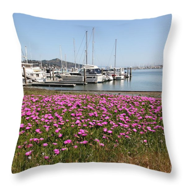 Docks at Sausalito California 5D22695 Throw Pillow by Wingsdomain Art and Photography