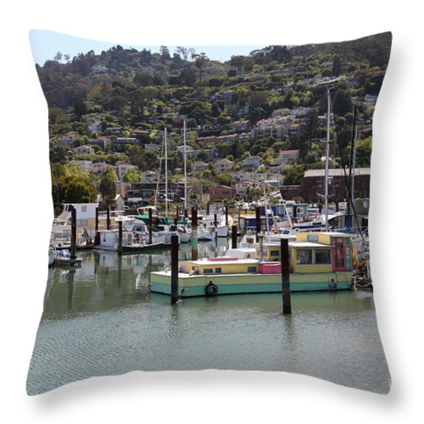 Docks at Sausalito California 5D22697 Throw Pillow by Wingsdomain Art and Photography