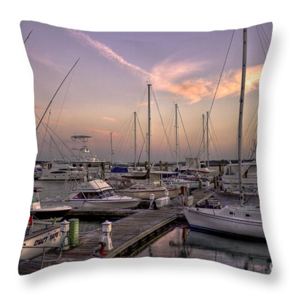 Dockside Sunset in Beaufort South Carolina Throw Pillow by Reid Callaway