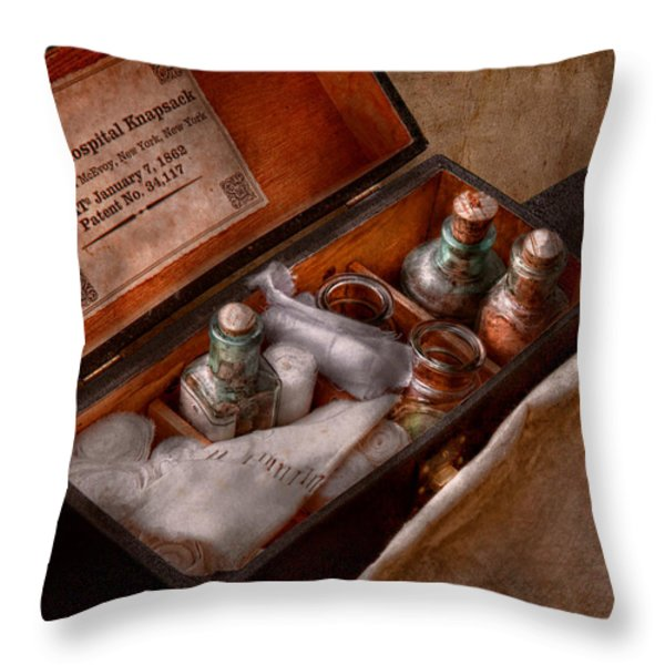 Doctor - Hospital Knapsack  Throw Pillow by Mike Savad