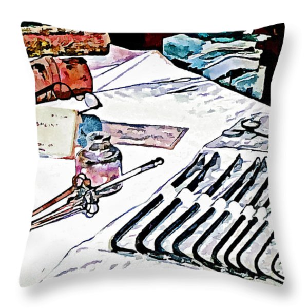 Doctor - Medical Instruments Throw Pillow by Susan Savad