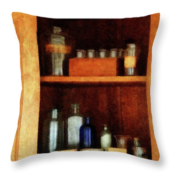 Doctor - Medicine Chest With Asthma Medication Throw Pillow by Susan Savad