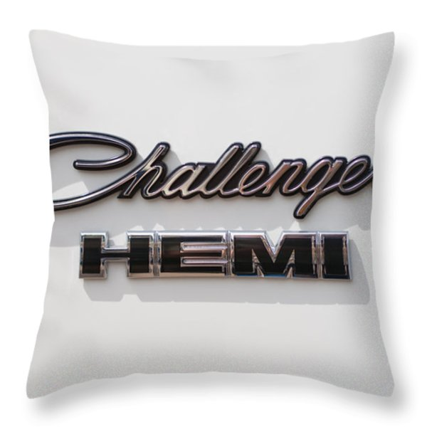 Dodge Challenger Hemi Emblem Throw Pillow by Jill Reger