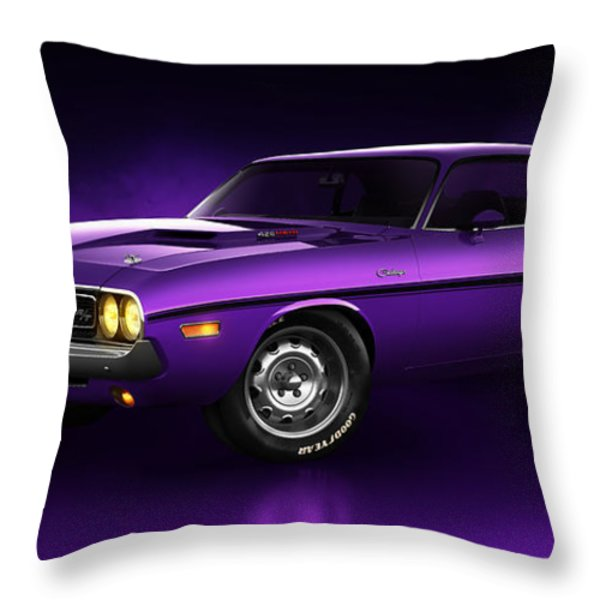 Dodge Challenger Hemi - Shadow Throw Pillow by Marc Orphanos
