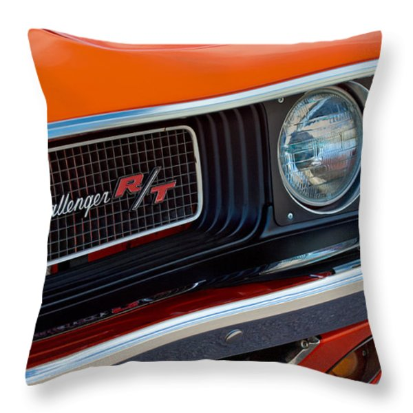Dodge Challenger RT Grille Emblem Throw Pillow by Jill Reger