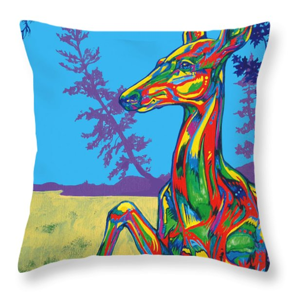 Doe Throw Pillow by Derrick Higgins