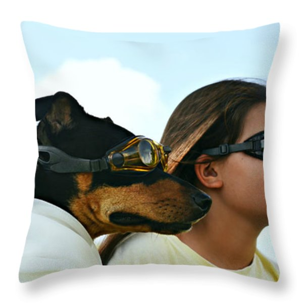 Dog Is My Co-pilot Throw Pillow by Laura  Fasulo