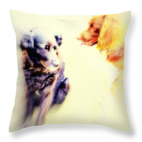 Dog Romance Throw Pillow by Hilde Widerberg