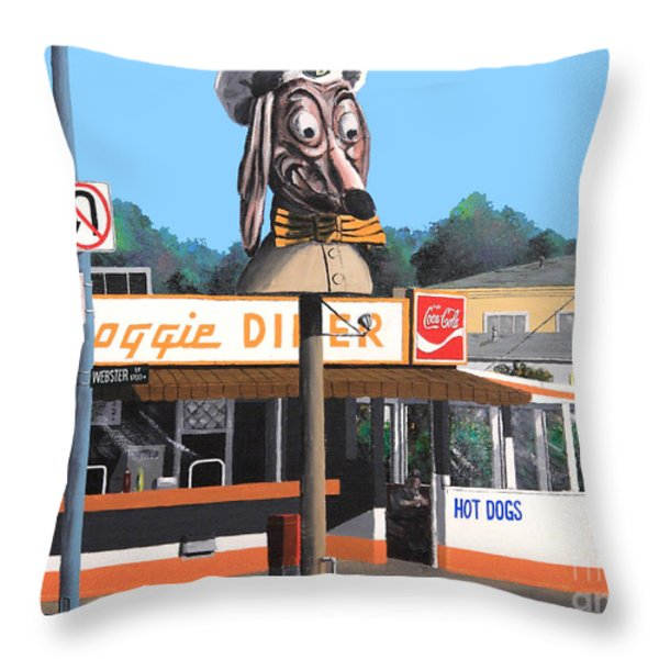 Doggie Diner 1986 Throw Pillow by Wingsdomain Art and Photography