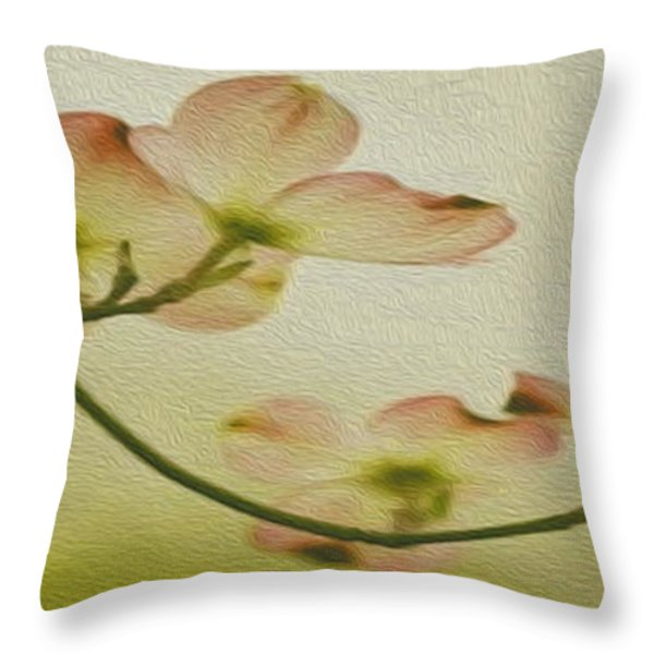 Dogwood Panoramic Throw Pillow by Cheryl Young