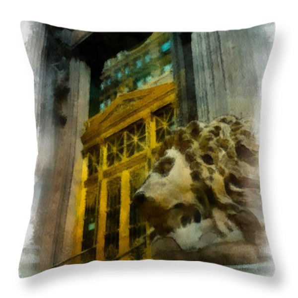 Dollar Bank Lion Pittsburgh Throw Pillow by Amy Cicconi