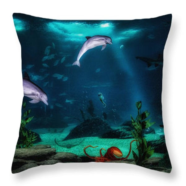 Dolphin Tails 2 Throw Pillow by Todd and candice Dailey