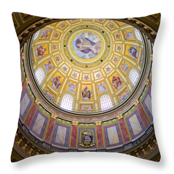 Dome Interior of the St Stephen Basilica in Budapest Throw Pillow by Artur Bogacki