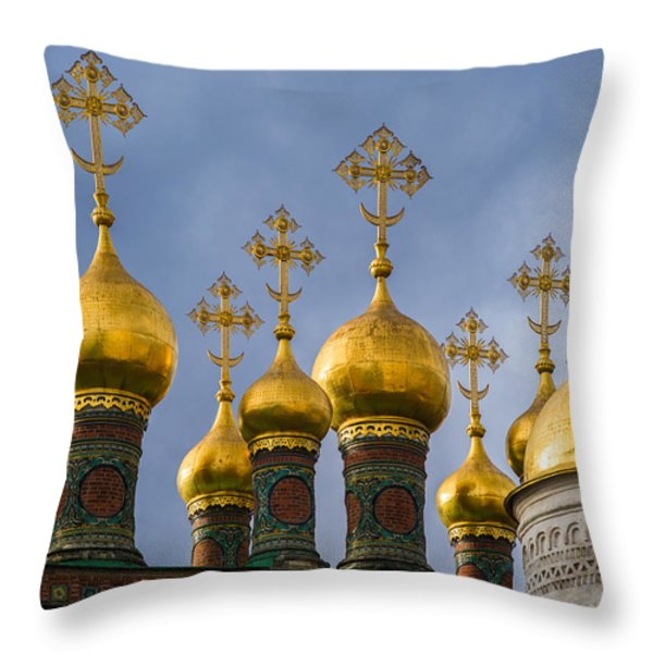 Domes Of The Church Of The Nativity Of Moscow Kremlin - Featured 3 Throw Pillow by Alexander Senin
