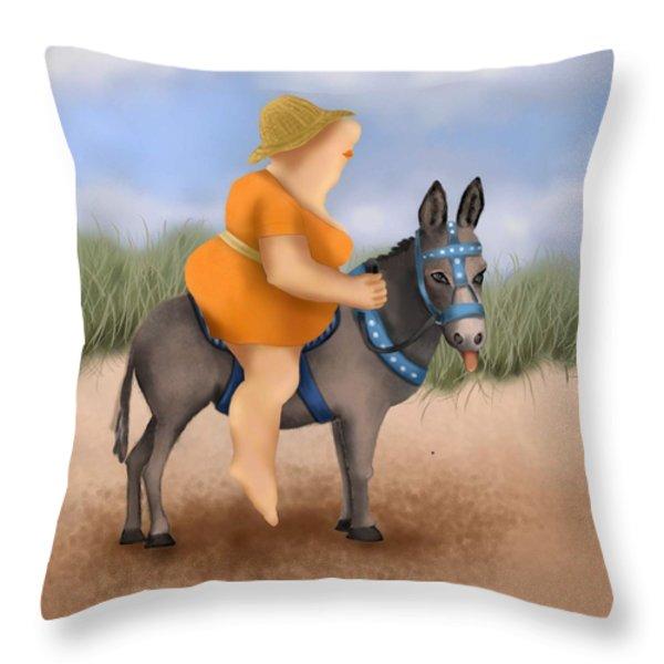 Donkey Ride Throw Pillow by Marlene Watson