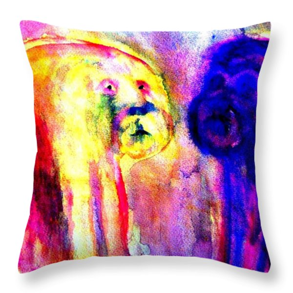 Dont Ask Me  Throw Pillow by Hilde Widerberg