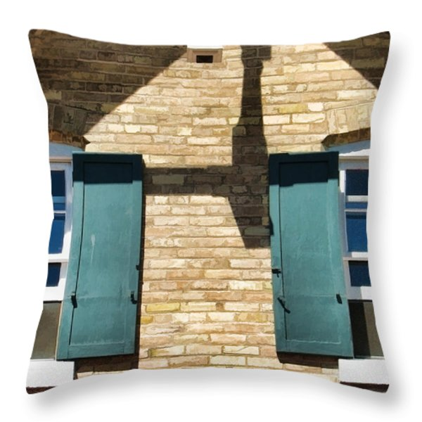 Door County Eagle Bluff Lighthouse Shutters Throw Pillow by Christopher Arndt